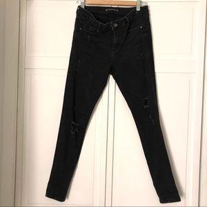 Zara Black Skinny Distressed Jeans